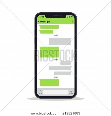 Phone screen with chat discussion messages vector template. Social network concept. Chat message and discussion on phone mobile screen illustration