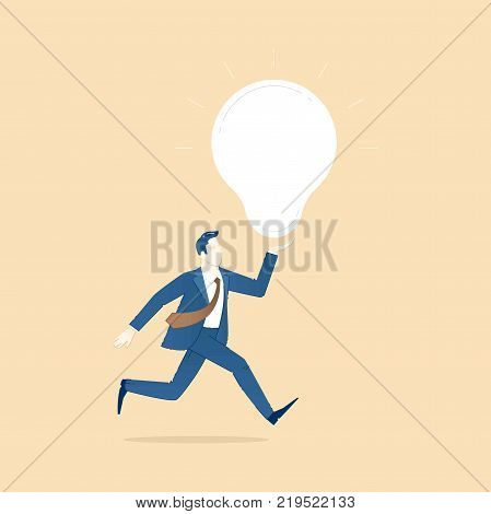 Business illustration of businessman character in suit and tie running with an idea light bulb. Business template with space for text