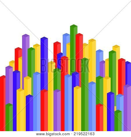 Vertical 3D colored rectangles. Banner of multi-colored rectangles. Flat design vector illustration vector.