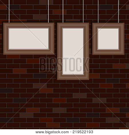 The frames for the pictures hang on the background of the brick wall. Retro frames for pictures. Flat design vector illustration vector.