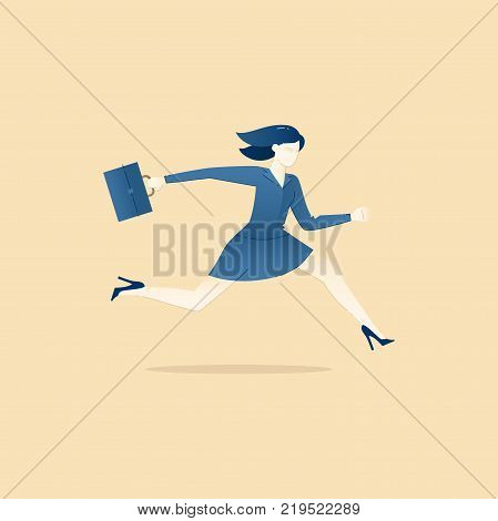 Business illustration of a business woman in suit holding a briefcase and running with heels. Vector concept for banners, infographics or landing pages of website