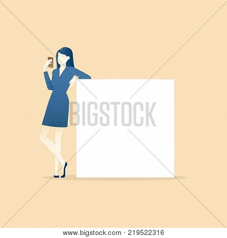 Business illustration of business woman character with mobile phone standing leaning on blank placard. Business template with space for text