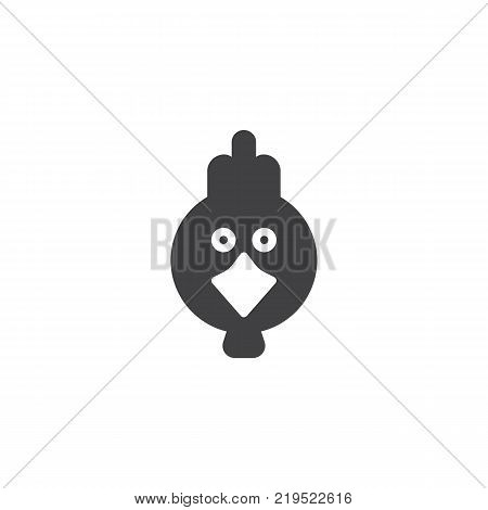 Hen bird head icon vector, filled flat sign, solid pictogram isolated on white. Symbol, logo illustration.