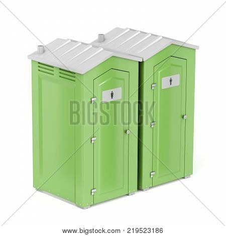 Green portable chemical toilets for males and females on white background, 3D illustration