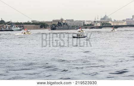 St. Petersburg, Russia - 28 July, The naval parade on the Neva, 28 July, 2017. Festive parade of warships on the Neva River in St. Petersburg.
