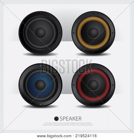 Four Loud Music Speakers isolated vector illustration
