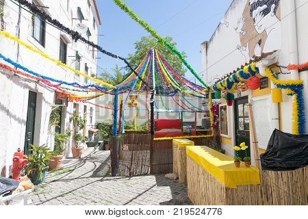 Lisbon Streets Decorated For The Festas De Lisboa