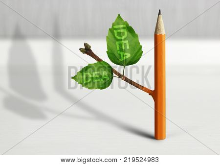 New idea creative concept pencil with leaves
