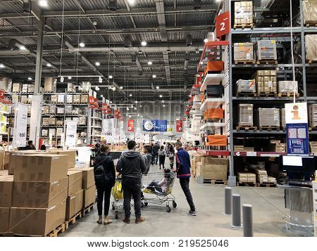 RISHON LE ZION, ISRAEL- DECEMBER 16, 2017: Warehouse aisle in an IKEA store. Founded in 1943, IKEA is the world's largest furniture retailer. IKEA operates 351 stores in 43 countries.