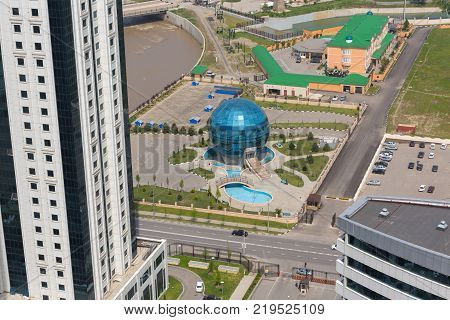 GROZNY RUSSIA - APRIL 24: Aerial view of Grozny city. Restaurant Globus on April 24 2016 in Grozny.