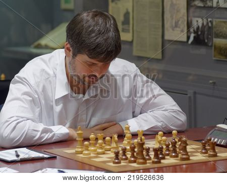 ST. PETERSBURG, RUSSIA - DECEMBER 4, 2017: Peter Svidler in the match against Daniil Dubov during super finals of 70th Russian men's chess championship. Dubov won the match but Svidler become champion