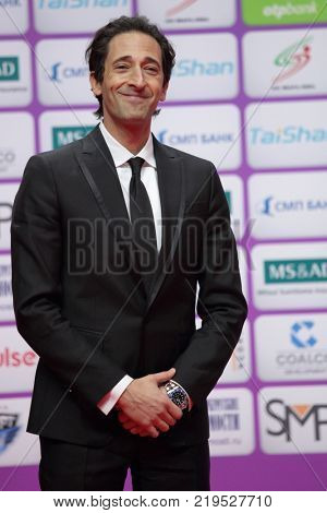 ST. PETERSBURG, RUSSIA - DECEMBER 17, 2017: American actor and producer Adrien Brody takes part in award ceremony of Judo World Masters 2017. It is most ranking competitions after World Championship