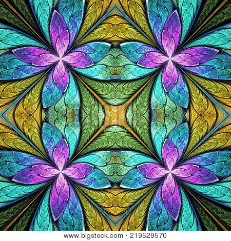 Beautiful seamless flower pattern in stained-glass window style. You can use it for invitations notebook covers phone cases postcards cards wallpapers and so on.