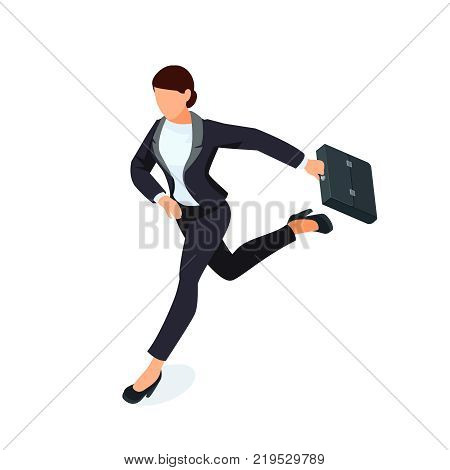 Isometric running businesswoman isolated on white background. 3d business lady with a briefcase in her hand is late and in a hurry. Vector illustration.