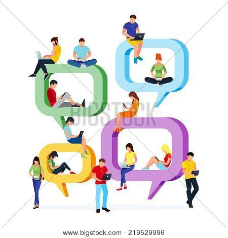 Concept chat. Young people sit on speech bubbles for comment and chat. Men and women in a flat style communicate using laptops and tablets pc. Vector illustration