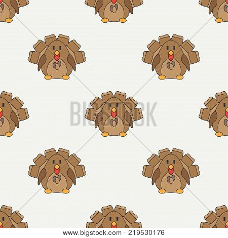 Flat line color vector seamless pattern cute animal for baby products - turkey. Cartoon style. Childrens doodle. Babyhood. Newborn. Vector illustration, element for design, wallpaper. Kids toy. Farm