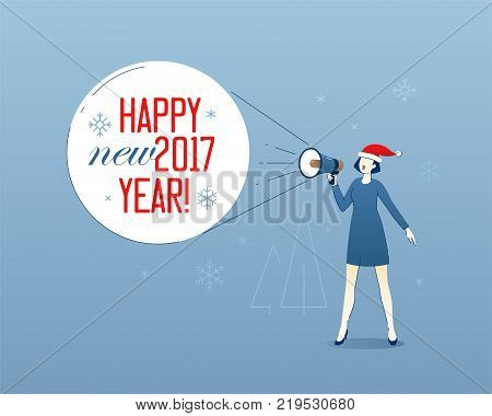 Business illustration of business woman in santa hat shouting in loudspeaker greeting slogan Happy New 2017 Year. Corporate greeting concept