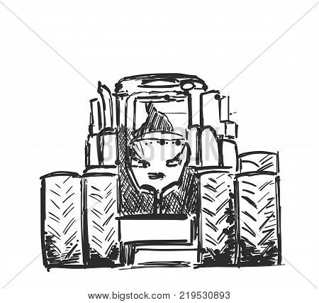 Sketch of tractor. Hand drawn agricultural machinery