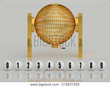 Golden Lottery Cage With White Balls