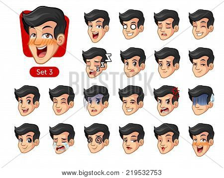 The third set of male facial emotions cartoon character design with black hair and different expressions, cry, sleep, pissed of, embarrassed, fear, triumph, confused, fear, etc. vector illustration.