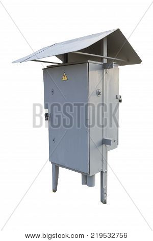 Municipal electrical grey outdoor cabinet with padlock and hazard sign isolated on white.