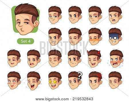 The fourth set of male facial emotions cartoon character design with red hair and different expressions, happy, bored, scary, pervy, uptight, disgust, amaze, silly, mad, etc. vector illustration.