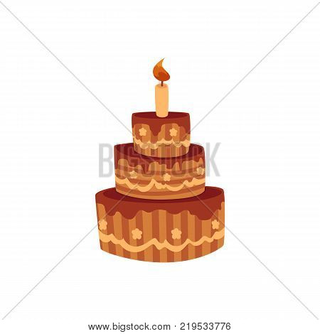 Tier birthday cake with chocolate icing and burning candle, cartoon vector illustration isolated on white background. Chocolate birthday cake with three tiers and one burning candle