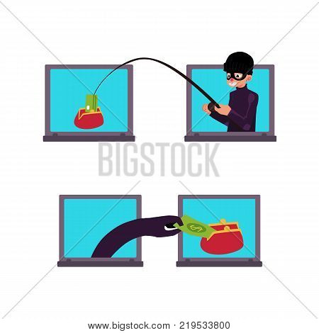 vector flat cyber theft set. Hacker stealing dollar money banknote by fishing rod from red wallet, bandit hand in black glove stealing money from laptop. Isolated illustration on white background.