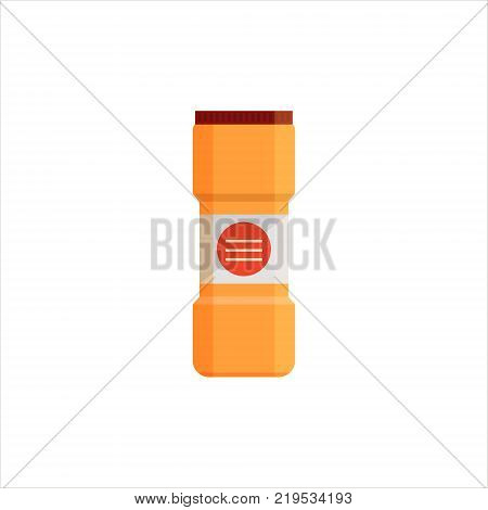 Yellow plastic bottle isolated on white background. Cleaning service logo, laundry detergent and disinfectant products, cleaner for toilet, bath - flat vector illustration.
