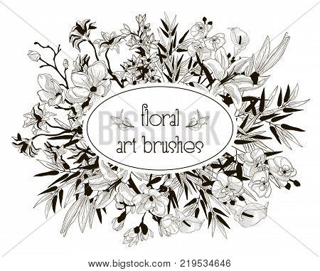 Vector Floral Flexible Art Brushes Collection. Size and Shape Adjustable. Decorative Hand Drawn Flowers and Leaves, Orchid, Cherry Blossom, Bamboo Leaves, Lily, Calla-lily. Vector Illustration