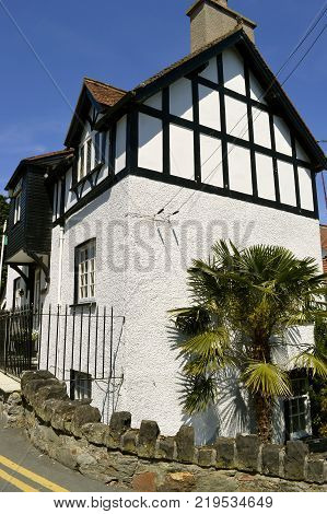 Conwy Wales United Kingdom - June 22 2014 : Mock Tudor style house in North Wales