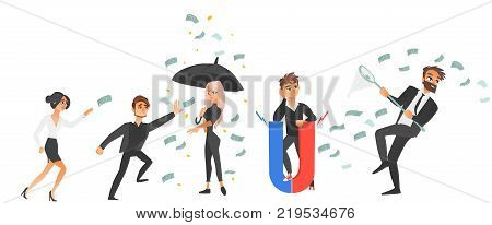 vector cartoon business men and women and money conceptual set. People running for money with butterfly net, standing under money rain holding umbrella, holding magnet. Isolated illustration.