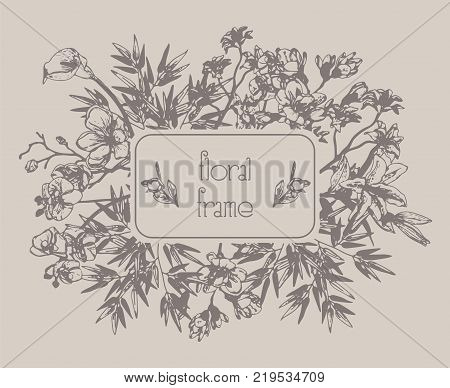Vector Floral Frame with Flowers, Branches, Leaves. Decorative Hand Drawn Flowers and Leaves, Orchid, Cherry Blossom, Bamboo Leaves, Lily, Calla-lily. Vector Illustration