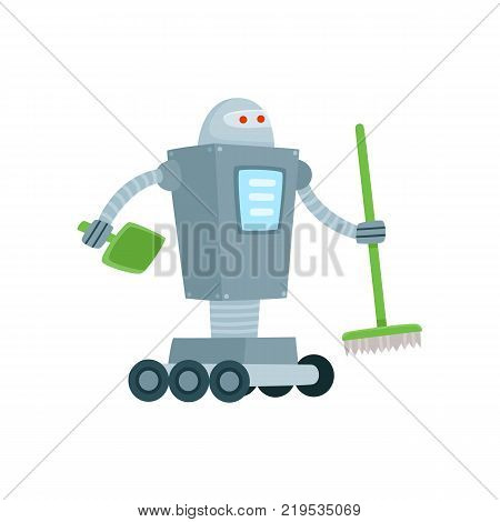 Robot cleaner, home assistant with broom and shovel, cartoon vector illustration isolated on white background. Funny robot assistant, home cleaner sweeping floor with broom and shovel