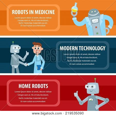 Vector robots, artificial intelligence in modern life infographic conseptual posters set. Robots in medical laboratory, business process assistance and home robots. Illustration on colored backgrounds