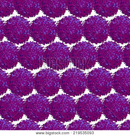 Vector seamless pattern with small furry flowers or pompoms in purple bright color can be used for web print wallpaper spring summer fashion fabric textile card background.