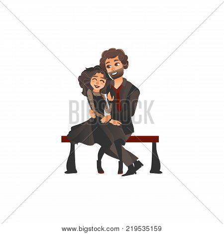 Happy young loving couple in gothic style clothing sitting and hugging on bench, flat vector illustration isolated on white background. Happy young couple in love dressed in black, sitting and hugging