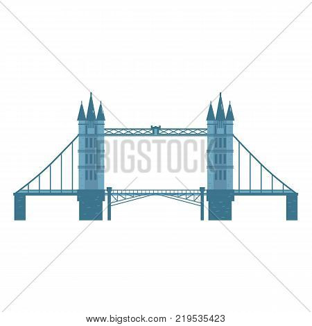 London Tower Bridge, England, United Kingdom symbol and tourist attraction, cartoon vector illustration isolated on white background. Flat style Tower Bridge, London, England symbol
