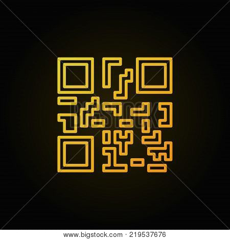 Yellow QR code concept vector line icon or symbol on dark background