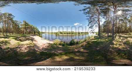 panorama near river in sunny summer day. Full 360 degree panorama in equirectangular equidistant spherical projection skybox for VR content