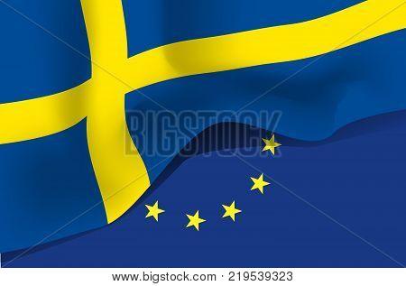 Sweden national waving flag. Symbol of Sverige on european union background