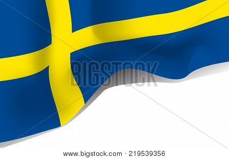 Sweden national waving flag. Symbol of Sverige isolated on white background