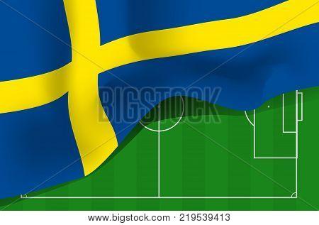Sweden national waving flag. Symbol of Sverige on football field background