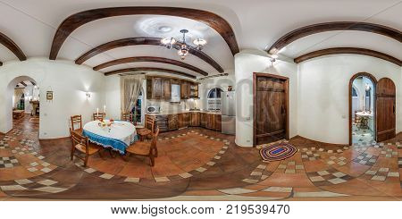 GRODNO BELARUS - NOVEMBER 13 2013: Panorama in interior kitchen in vacation house. Full spherical 360 by 180 degrees seamless panorama in equirectangular equidistant projection. VR content