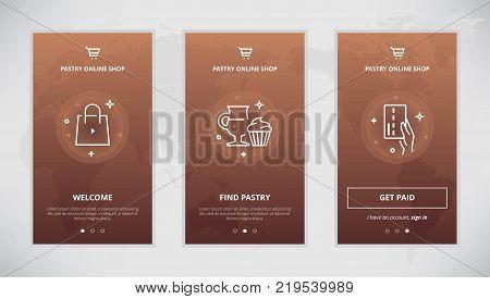Onboarding design concept for pastry online store. Modern vector outline mobile app design set of pastry online shop. Onboarding screens for pastry buying online