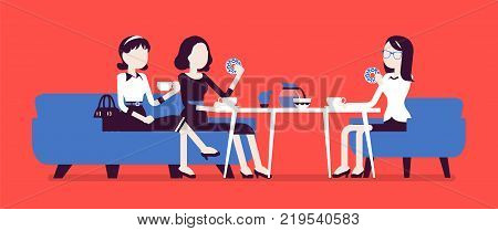 Girls sitting in a cafe. Female friendly informal meeting for refreshment and talk, meals, drinks in a small restaurant, chatting together. Vector business concept illustration, faceless characters