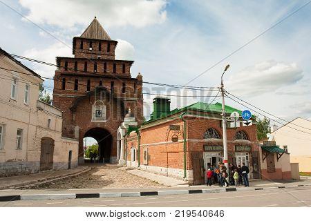 Kolomna Russia - May 22 2017: Kolomna Kremlin Of Pyatnitsky Gate And Museum Kalach In Kolomna Moscow Region. Spring.