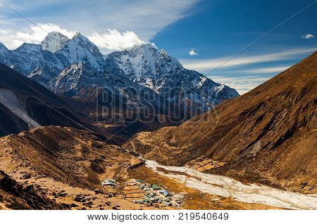 The peak of Mount Ama Dablam seen from Dingboche Village on Everest Highway in Nepal.