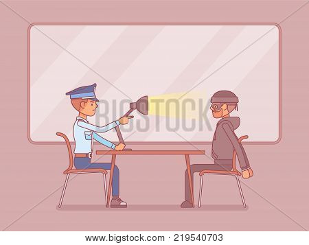 Interrogation with lamp. Policeman questioning the criminal, using light techniques, man arrested or suspected asked, interviewing by police. Law and justice concept. Vector line art illustration