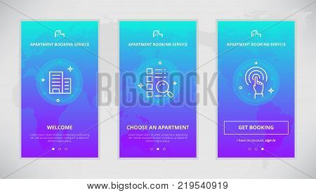 Onboarding design concept for an apartment booking service. Modern vector outline mobile app design set of an apartment booking services. Onboarding screens for an apartment booking on-line